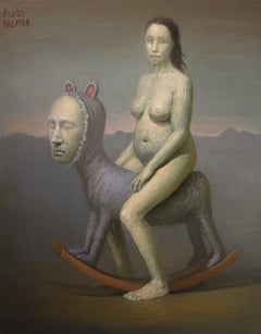 Rocking Horse Woman by Avery Palmer, oil painting with pop surrealist figure