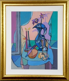 Candlelight, Cubist Still Life Painting by Farin