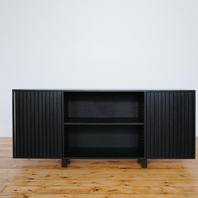 Hand-Crafted Avicenna Ebony With Fluted Push Latch Doors - Midcentury Style Credenza For Sale