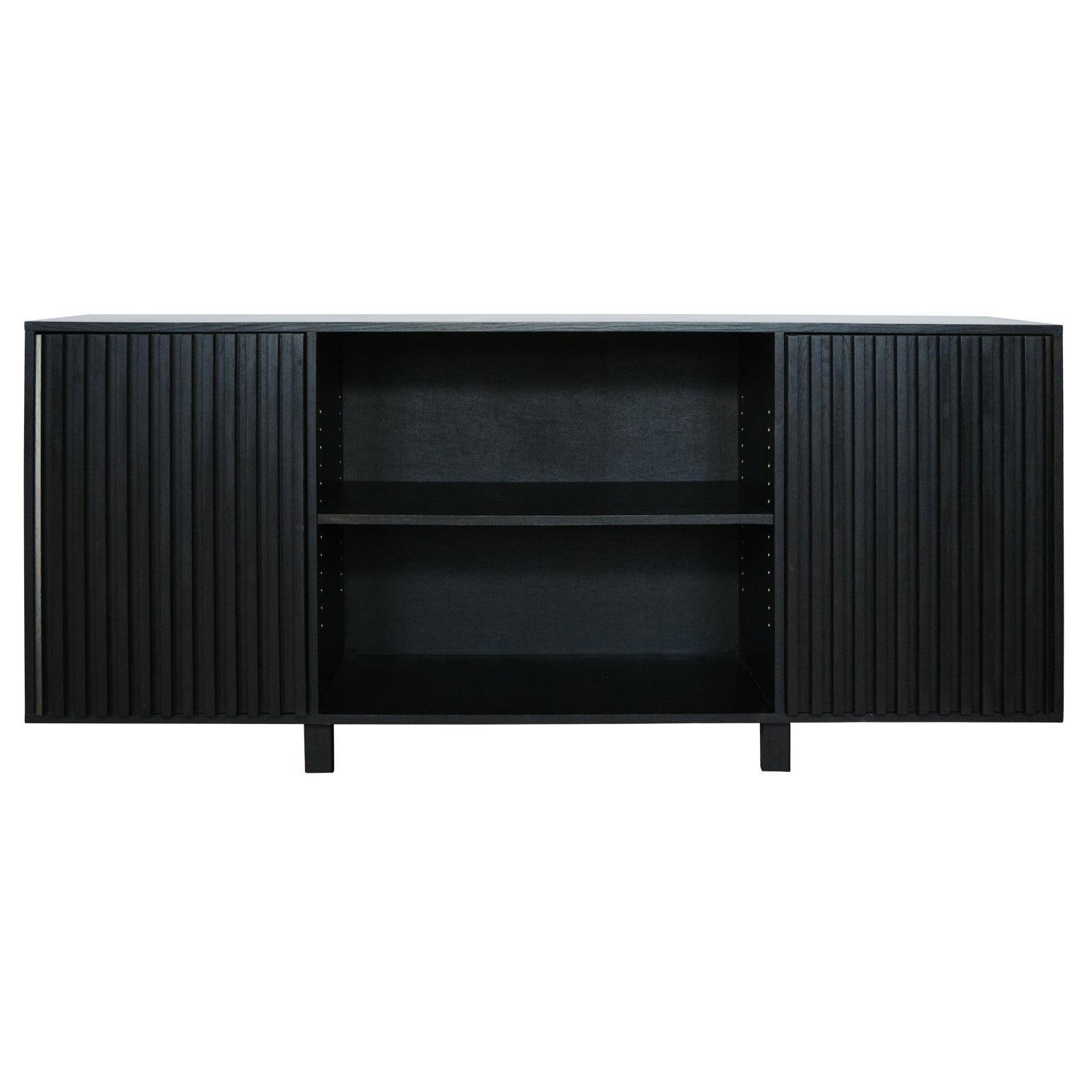 Avicenna Black Ebony Midcentury Style Credenza With Fluted Push Latch Doors