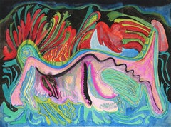 """Figurative, Watercolor Ink & Dry Pastel on Paper by Modern Artist """"In Stock"""""""