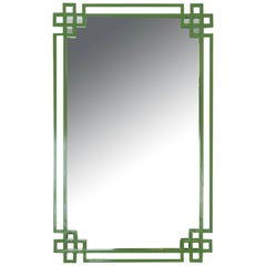 Avocado Green Lacquered Metal Mirror