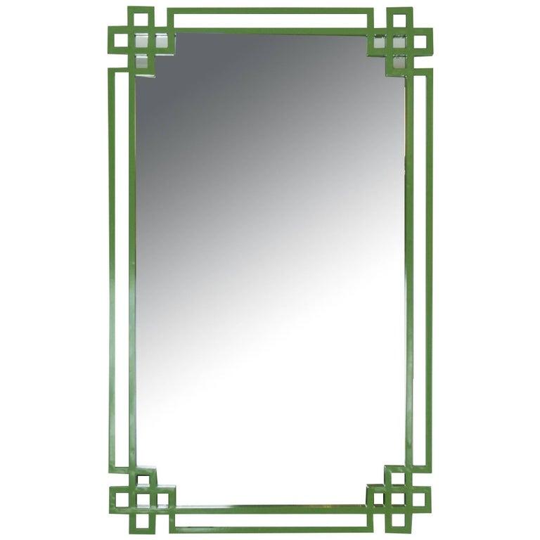 Avocado Green Lacquered Metal Mirror