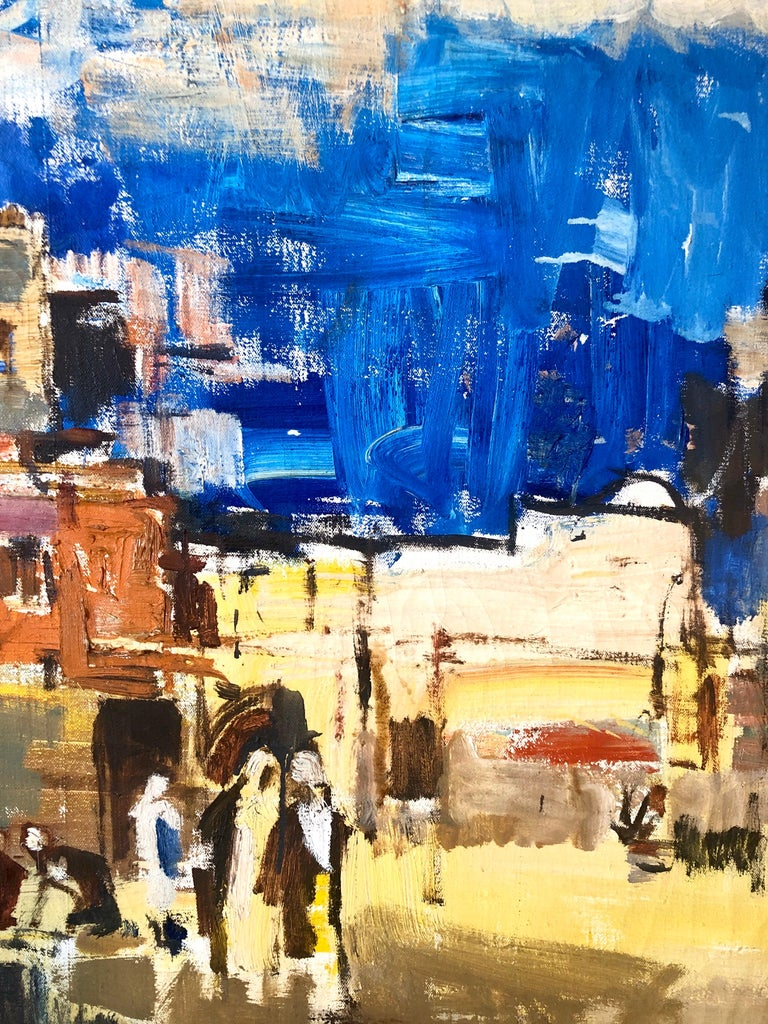 Large gilt framed abstract modernist landscape of Jerusalem. Framed it measures 33.25 X 41.25 inches. Canvas measures  28 x 36 inches. Bold Blue sky.    Avraham Binder was born in 1906 in Vilnius (or Vilna), now part of Lithuania. He began painting