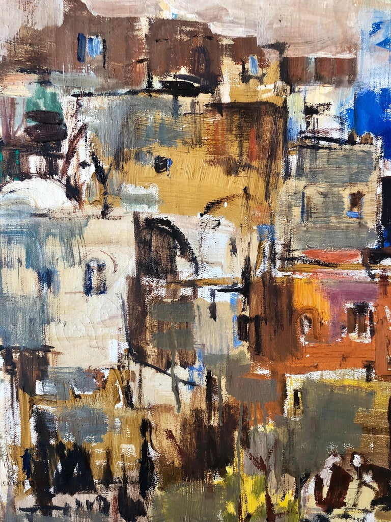 Large Abstract landscape of Jerusalem Israeli Oil Painting Judaica For Sale 1
