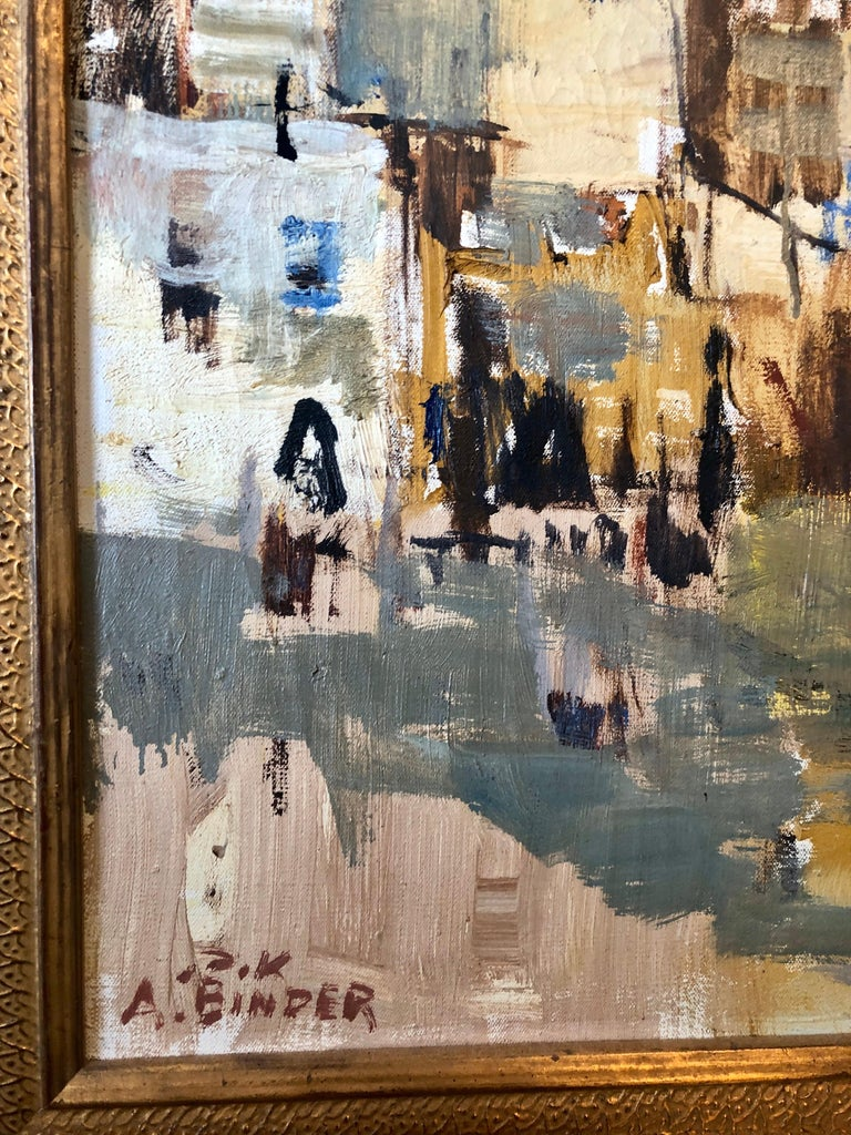 Large Abstract landscape of Jerusalem Israeli Oil Painting Judaica For Sale 2