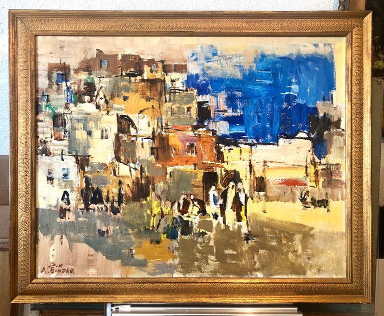 Large Abstract landscape of Jerusalem Israeli Oil Painting Judaica For Sale 3
