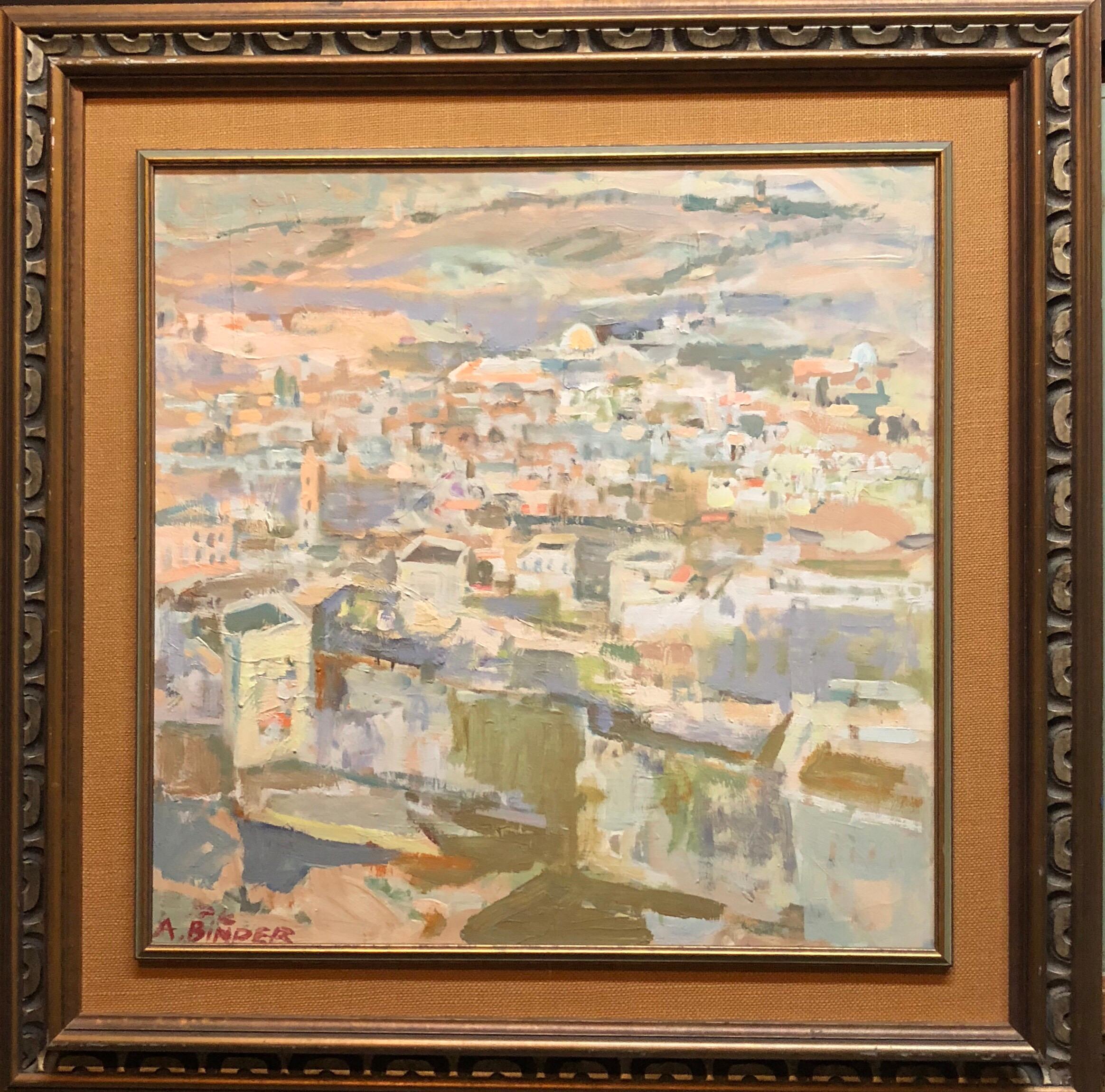 Large Abstract landscape of Jerusalem Israeli Oil Painting Judaica