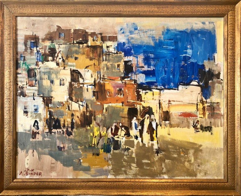 Avraham Binder Abstract Painting - Large Abstract landscape of Jerusalem Israeli Oil Painting Judaica