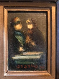 Israeli Miniature Oil Painting Women in Conversation Judaica