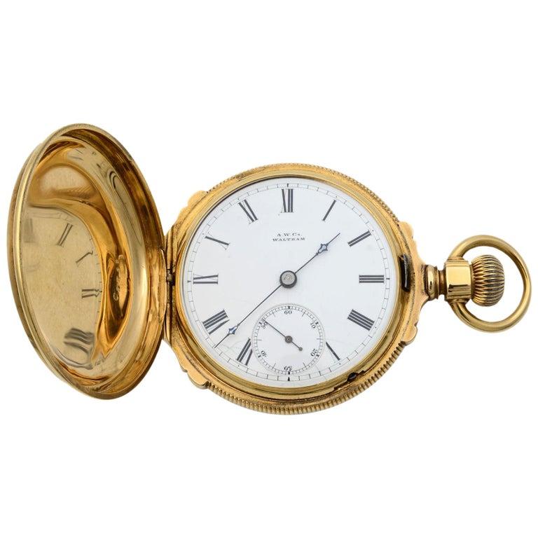 A.W. Co Waltham 14 Karat Yellow Gold circa 1890s Manual Wind Pocket Watch For Sale