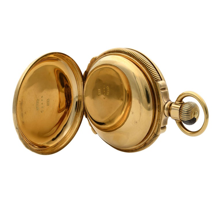 A.W. Co Waltham 14 Karat Yellow Gold circa 1890s Manual Wind Pocket Watch In Fair Condition For Sale In New York, NY