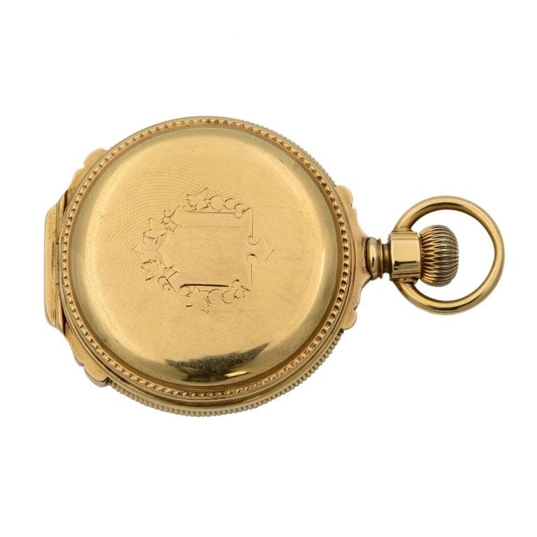 Women's or Men's A.W. Co Waltham 14 Karat Yellow Gold circa 1890s Manual Wind Pocket Watch For Sale