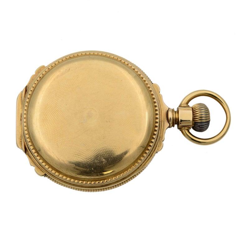 A.W. Co Waltham 14 Karat Yellow Gold circa 1890s Manual Wind Pocket Watch For Sale 1