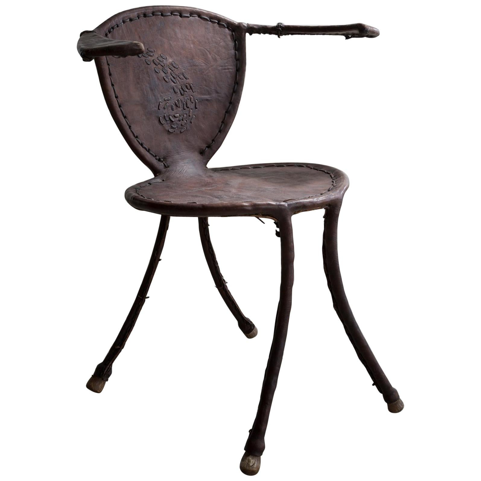 """""""Awa"""" Sculptural Side Chair in Metal and Leather by Babacar Nang, 2014"""