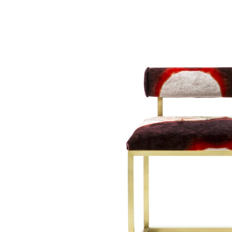 Awaiting T Bench Printed Velvet and Brass In New Condition For Sale In Roma, IT