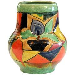 Awaji Pottery Art Deco Japanese Mock Cubist Fractured Picture Plane Vase Signed
