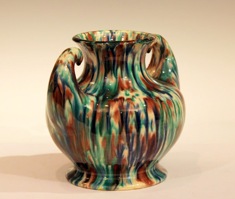 Turned Awaji Pottery Art Deco Japanese Vintage Studio Muscle Vase Flambe Glaze For Sale