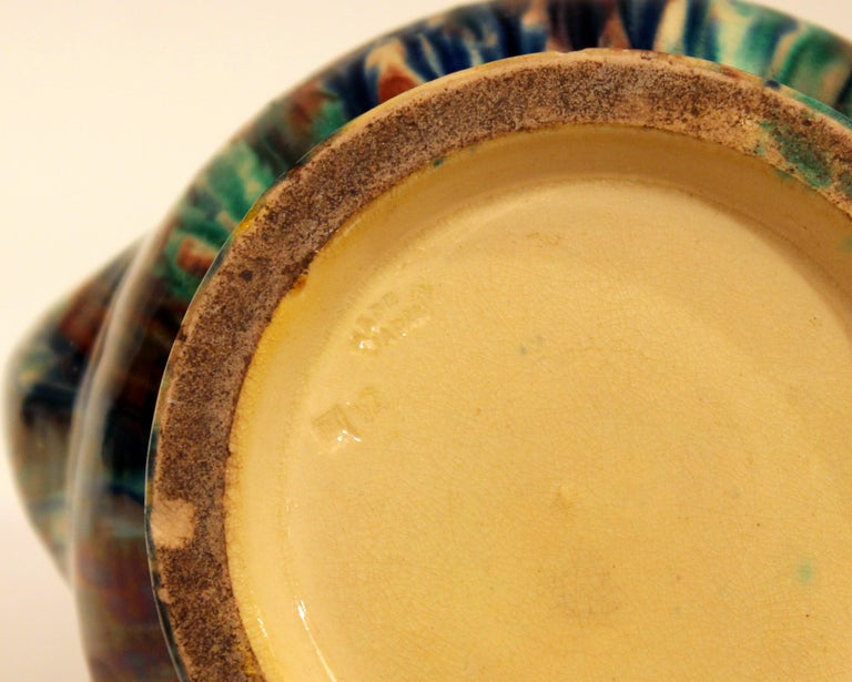 Awaji Pottery Art Deco Japanese Vintage Studio Muscle Vase Flambe Glaze For Sale 1