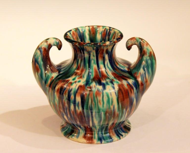Awaji Pottery Art Deco Japanese Vintage Studio Muscle Vase Flambe Glaze For Sale 2