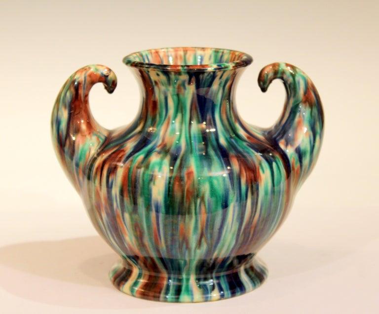 Awaji Pottery Art Deco Japanese Vintage Studio Muscle Vase Flambe Glaze For Sale 3