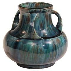 Awaji Pottery Art Deco Japanese Vintage Studio Vase in Blue Flambé Drip Glaze