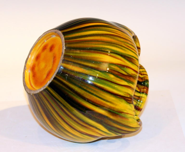 Awaji Pottery Art Deco Japanese Vintage Studio Yellow Vase Flambe Glaze In Excellent Condition For Sale In Wilton, CT