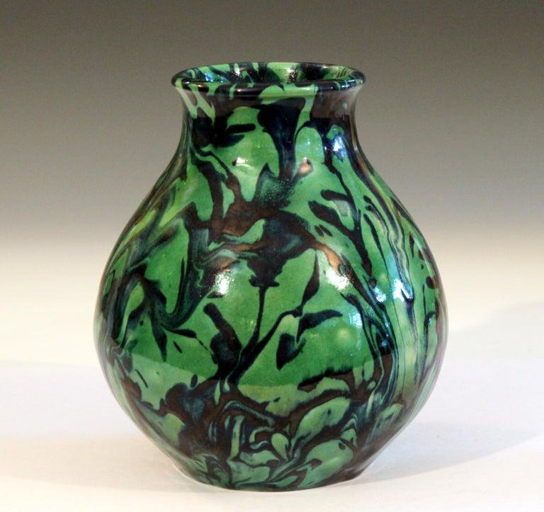 Awaji Keramik Grün Marmorierte Art Deco Flambierte Tropf Vase Im