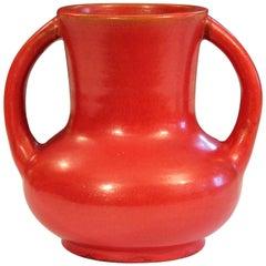 Awaji Pottery Japanese Art Deco Vase Crystalline Chrome Orange Red Glaze
