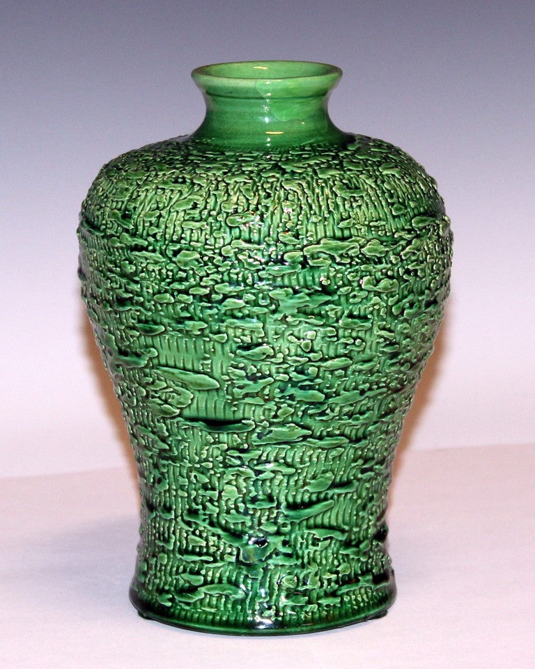Awaji Pottery vase in pleasantly proportioned meiping form with richly textured surface, circa 1920s. Measures: 7 3/4