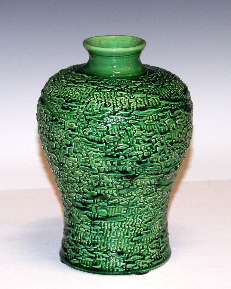 Arts and Crafts Awaji Pottery Meiping Vase with Textured Surface For Sale