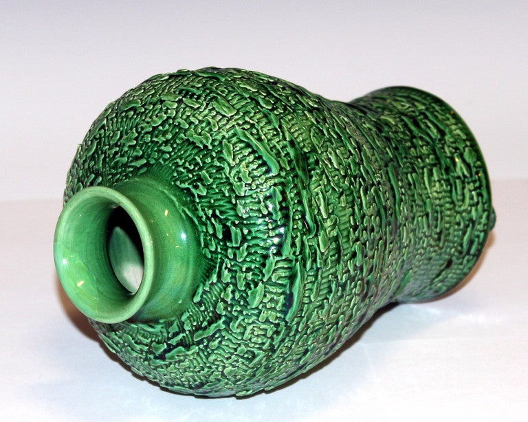 Japanese Awaji Pottery Meiping Vase with Textured Surface For Sale