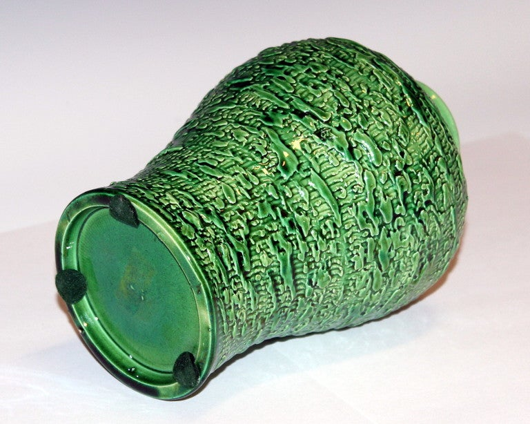Turned Awaji Pottery Meiping Vase with Textured Surface For Sale
