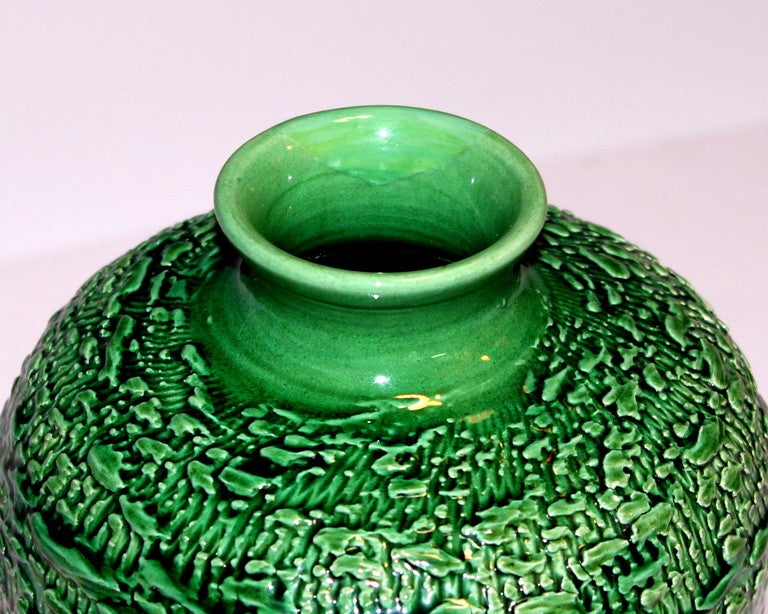 Awaji Pottery Meiping Vase with Textured Surface In Good Condition For Sale In Wilton, CT