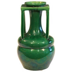 Awaji Pottery Organic Buttress Handle Arts & Crafts Green Monochrome Vase