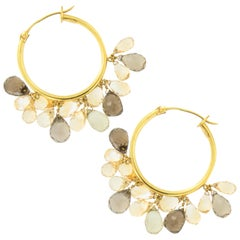 Award Winning Designer Susan Hoge 18k Gold Lemon and Smoky Quartz Hoop Earrings