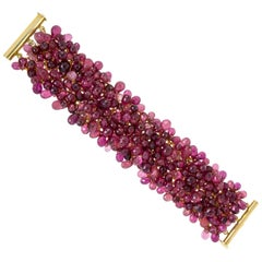 "Award Winning Designer Susan Hoge Pink Tourmaline ""Fluffy"" Bead Bracelet"