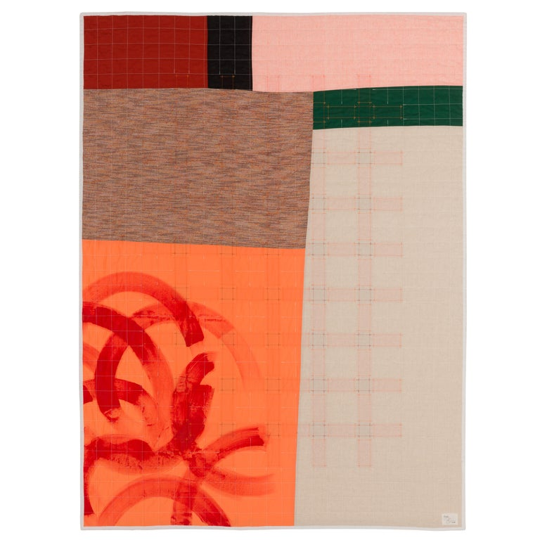 """""""Away"""" is a cotton quilt designed to recall traditional quilt patterns with a dedication to place and our relationship with it. Quilts are often used as a means to tell stories and, whether you're near or far from whatever you place you call home,"""
