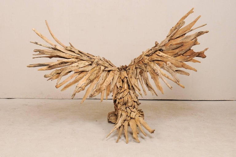 Large Handcrafted Driftwood Eagle Sculpture For Sale 3