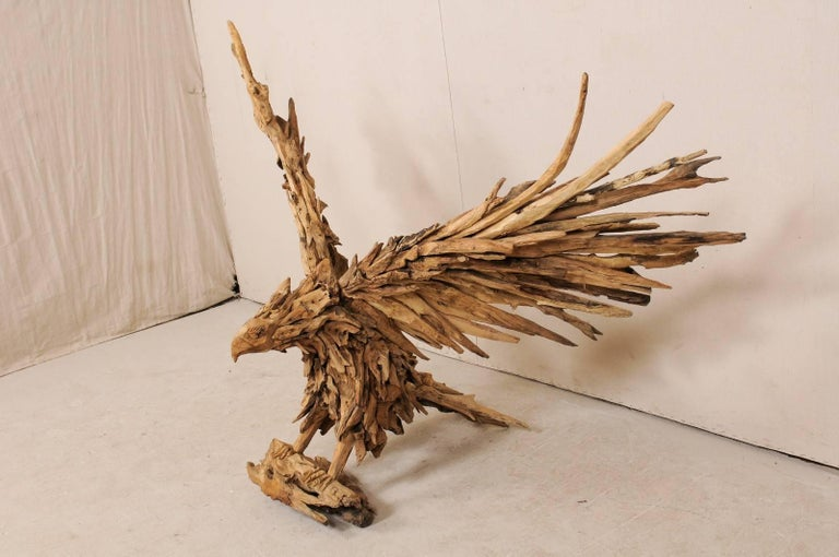 Hand-Carved Large Handcrafted Driftwood Eagle Sculpture For Sale