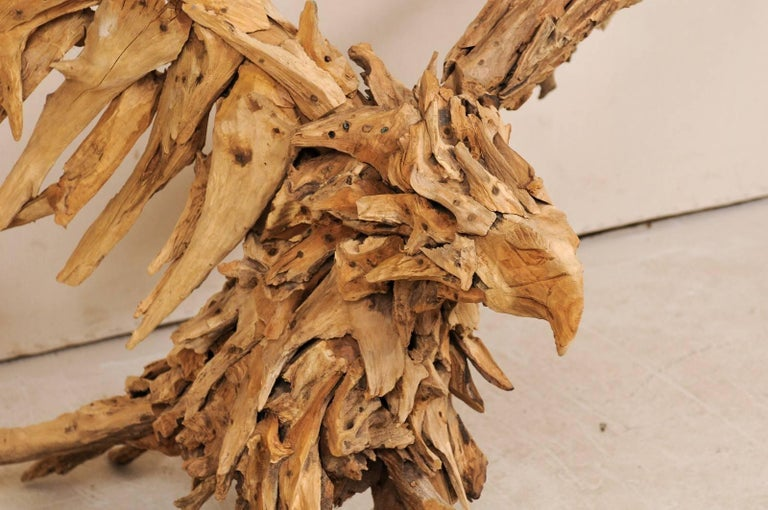 Contemporary Large Handcrafted Driftwood Eagle Sculpture For Sale