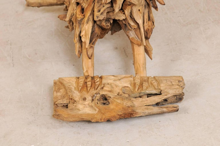Wood Large Handcrafted Driftwood Eagle Sculpture For Sale
