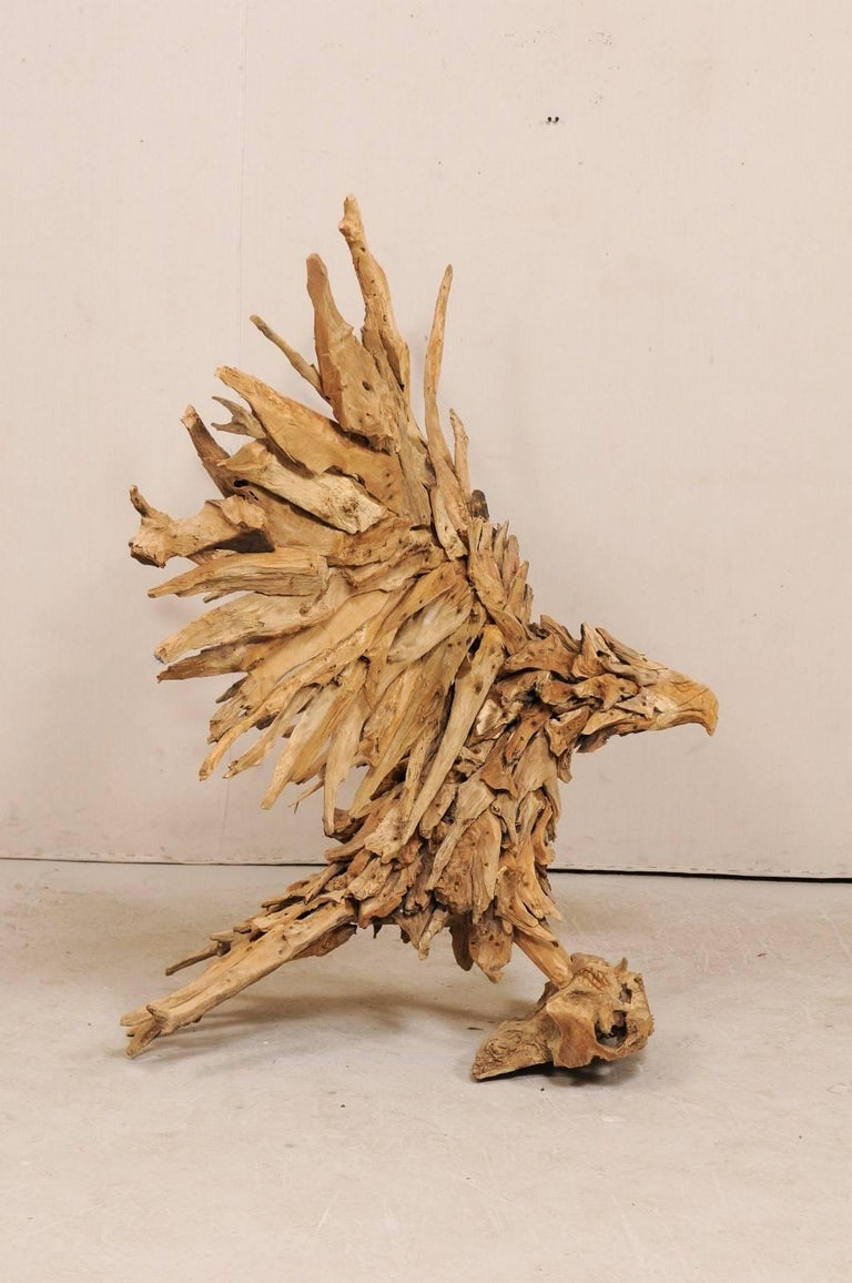 Large Handcrafted Driftwood Eagle Sculpture For Sale 1