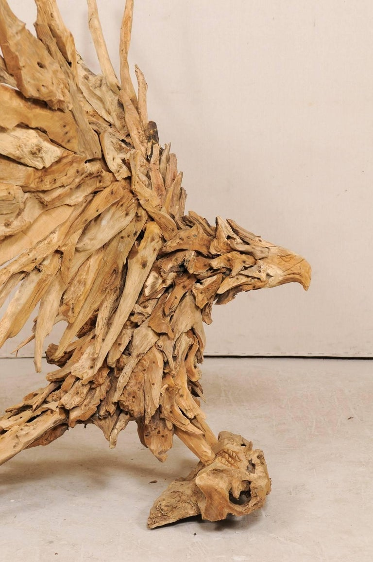 Large Handcrafted Driftwood Eagle Sculpture For Sale 2