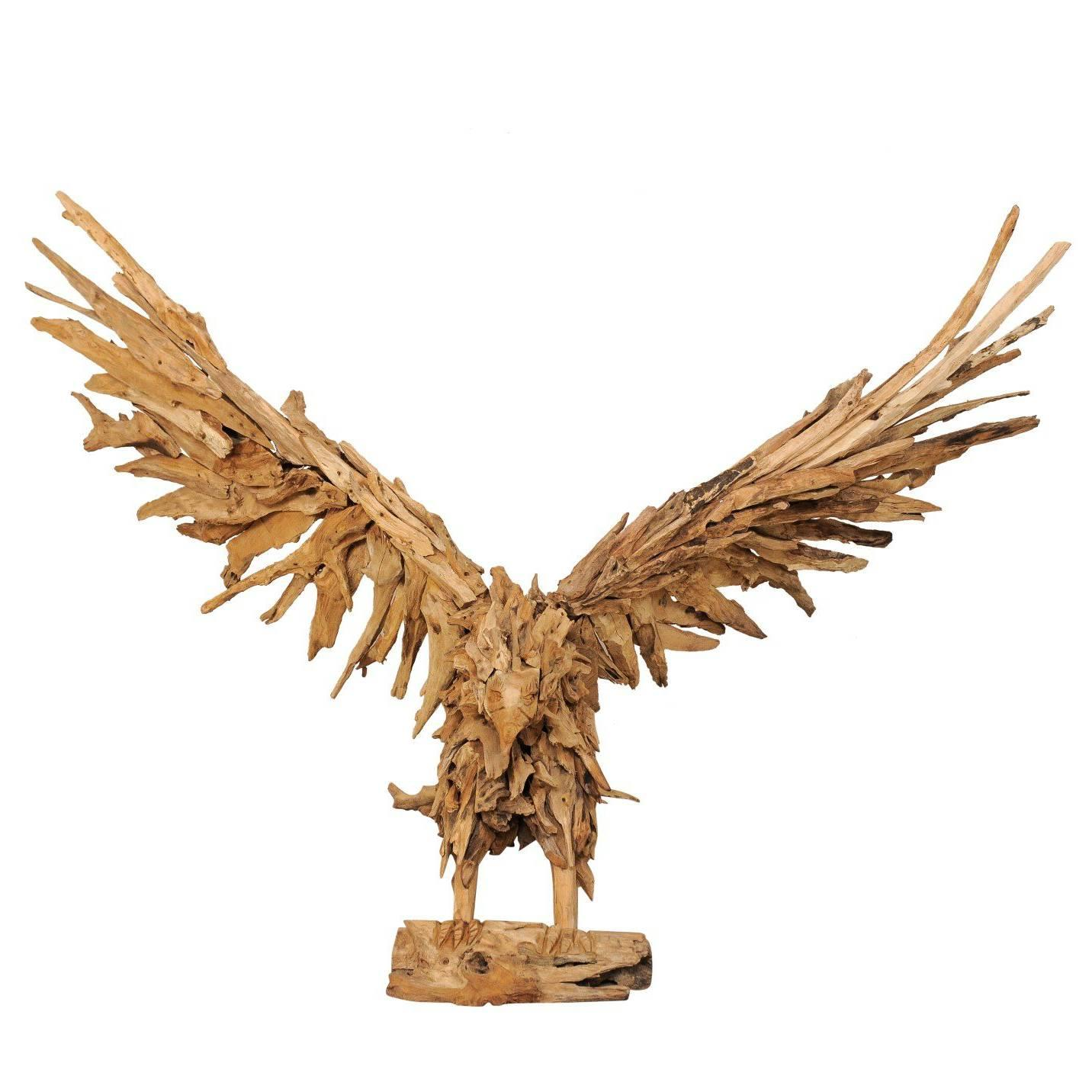 Large Handcrafted Driftwood Eagle Sculpture