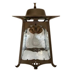Awesome Arts & Crafts Patinated Copper & Cathedral Glass Pendant Light / Lantern