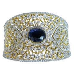 Awesome Blue Sapphire CZ and Sparkling Ice CZs Surround Cuff Bracelet