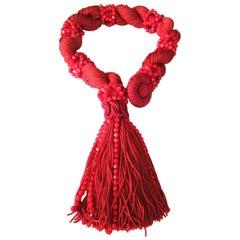 Awesome Designer Vintage Red Rope Tassel Red Crystals Necklace