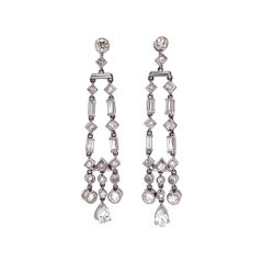 Awesome Diamond Chandelier Platinum Drop Earrings Estate Fine Jewelry