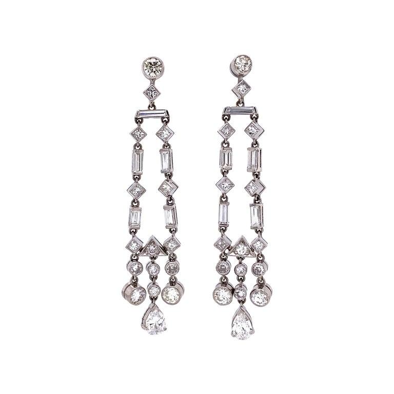 Awesome Diamond Chandelier Platinum Drop Earrings Estate Fine Jewelry For Sale